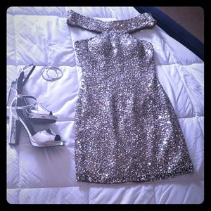 Off the shoulder, silver sequin party dress